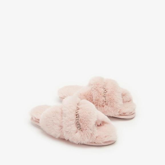 Express Criss Cross Gem 💎 Faux Fur Slippers